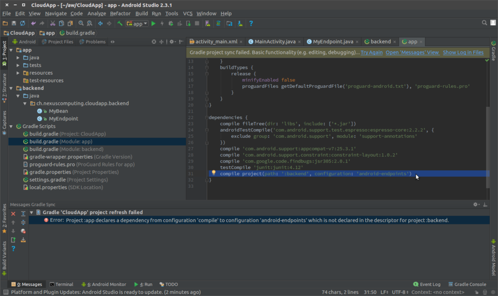 Setting up Android Studio with Cloud Endpoints Frameworks